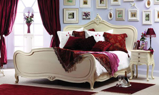 Romance Luxury White Mahogany Bed Interior Furniture Design