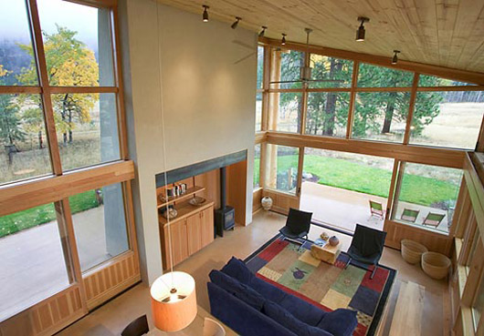 small wooden cabin design living room