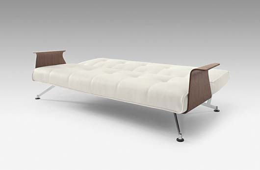 sofa bed design with walnut arms