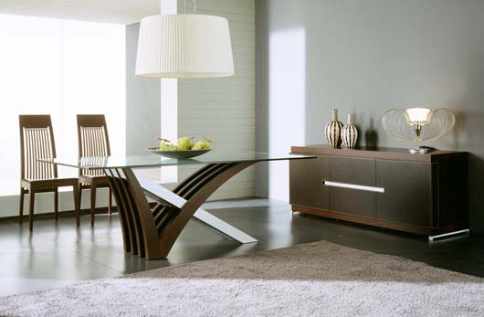 Mirage Glass Design Modern Iinterior Furniture Dining Set