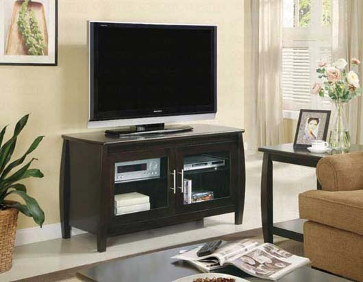 Modern TV Stand Design Entertainment Furniture With Double Glass Doors