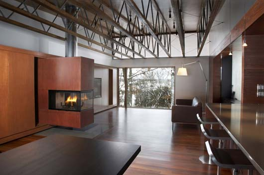 open space interior design with fireplace