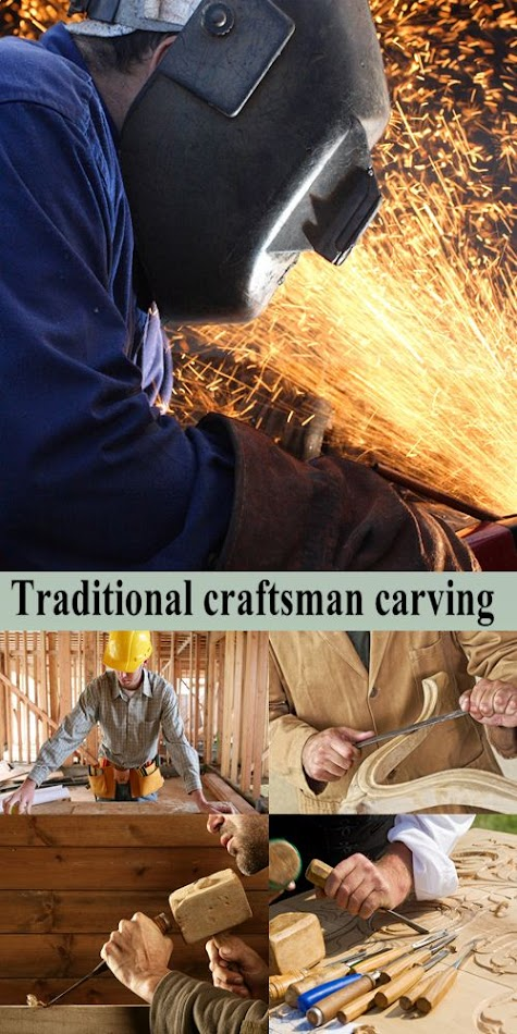Stock Photo: Traditional craftsman carving