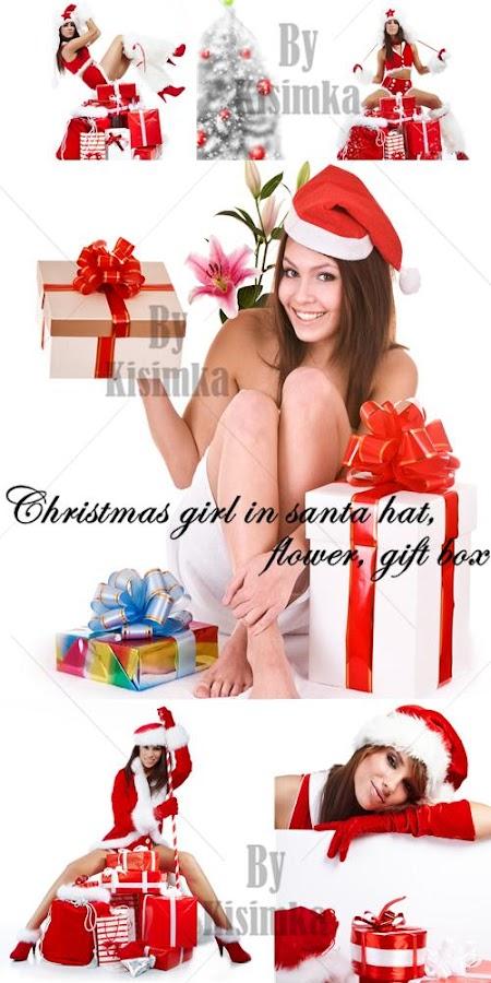 Stock Photo: Christmas girl in santa hat, flower, gift box