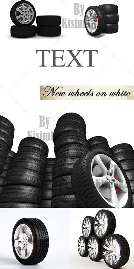 Stock Photo: New wheels on white