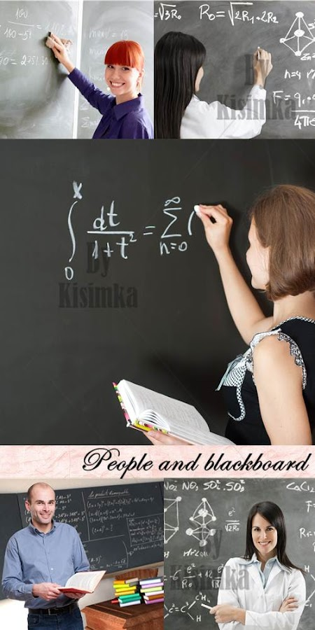 Stock Photo: People and blackboard