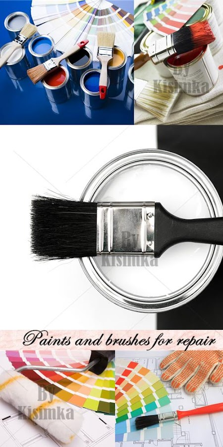 Stock Photo: Paint and brushes for repair