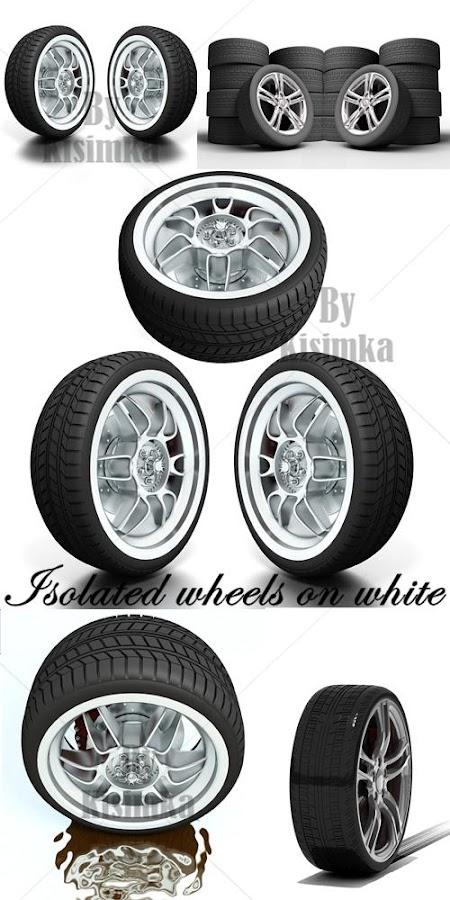 Stock Photo: Isolated wheels on white