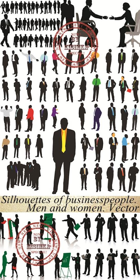 Stok5: Silhouettes of businesspeople. Men and women. Vector