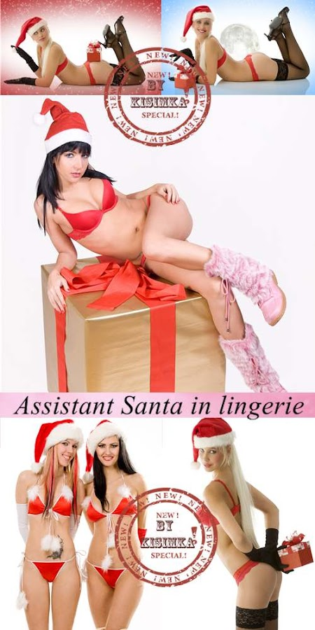 Stock Photo: Girl assistant Santa in lingerie