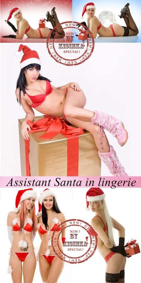 Stock Photo: Girl assistant Santa in lingerie