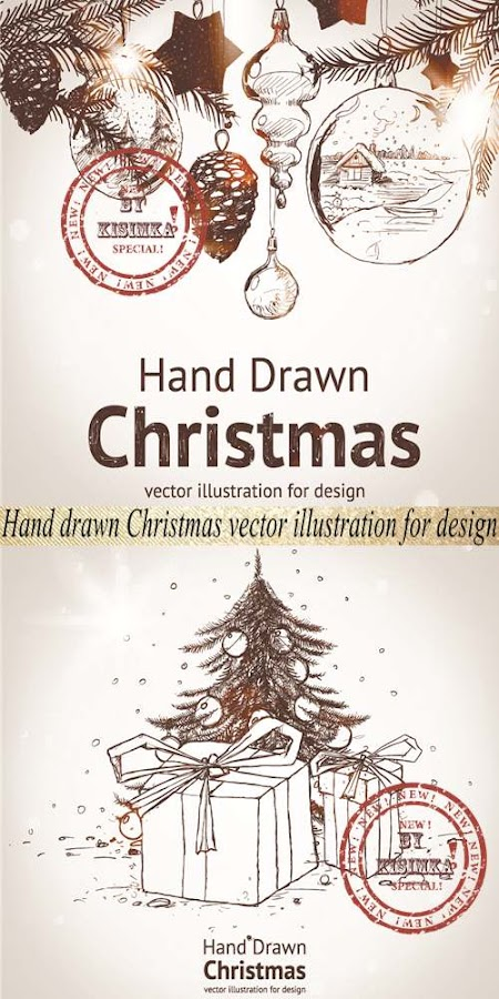 Stock: Hand drawn Christmas vector illustration for design