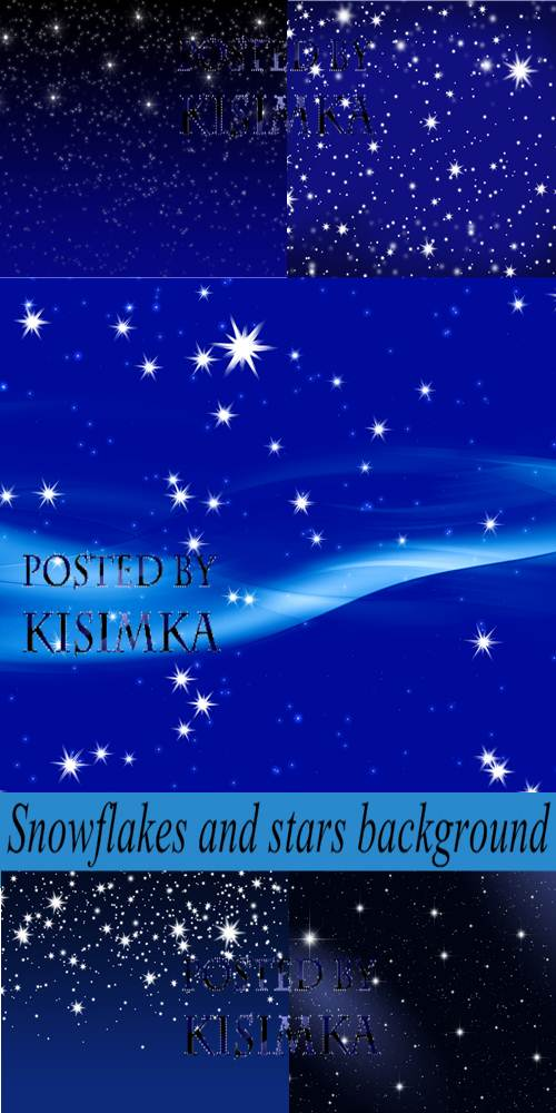 Stock Photo: Snowflakes and stars background