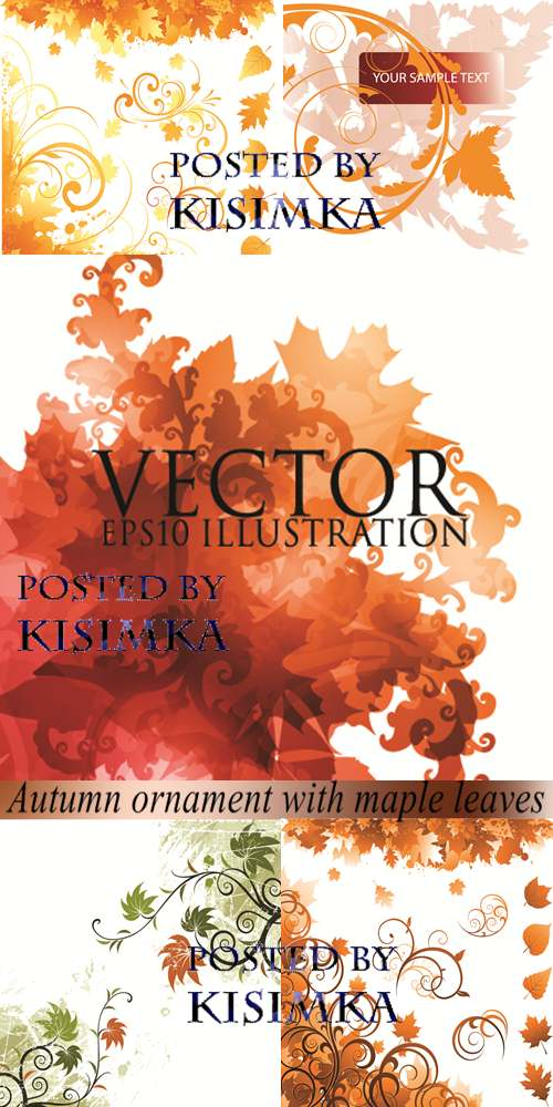 Stock: Autumn ornament with maple leaves