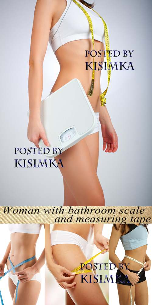 Stock Photo: Woman with bathroom scale and measuring tape