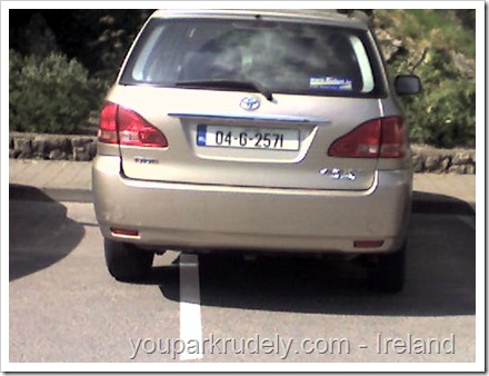 Brown Toyota parked rudely in Ireland - youparkrudely.com