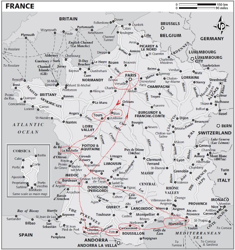 Карта маршрута по Франции