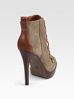 TORY BURCH - Halima Suede & Leather Ankle Boots - 364