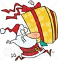 art-Illustration-Of-Santa-Claus-Running-To-Deliver-A-Large-Christmas-Present-Gift-Wrapped-In-A-Red-Bow-Ribbon-And-Yellow-Paper-With-A-White-Snowflake-Pattern