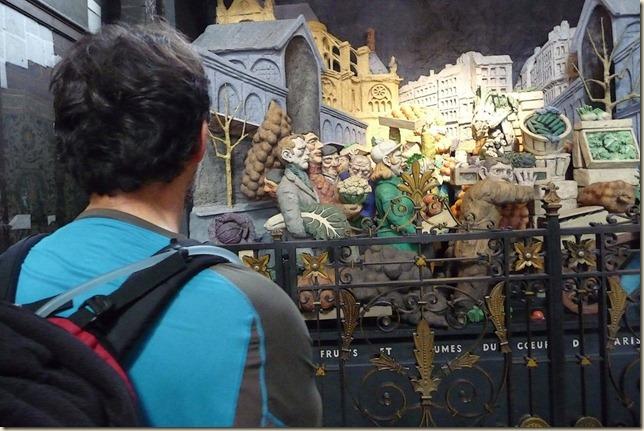 Scène naïve de personnages travaillant aux Halles