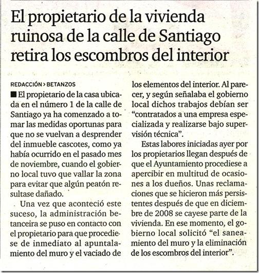 """Recorte do xornal """"El Ideal Gallego"""" correspondente ao martes 5 de xaneiro de 2010"""