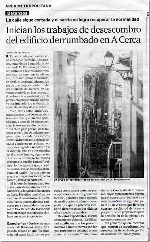 """Recorte do xornal """"El Ideal Gallego"""" correspondente ao martes 26 de xaneiro de 2010"""