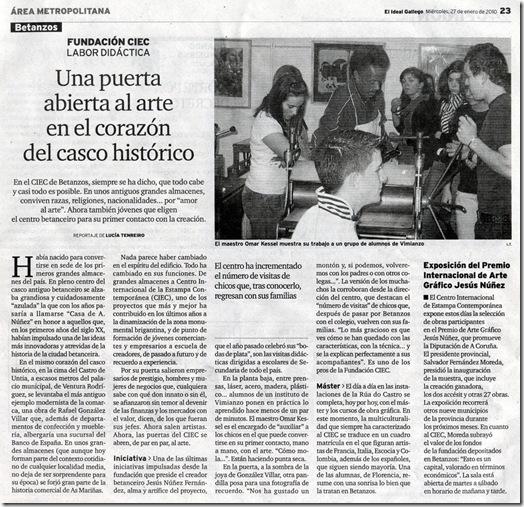 """Recorte do xornal """"El Ideal Gallego"""" correspondente ao mércores 27 de xaneiro de 2010"""
