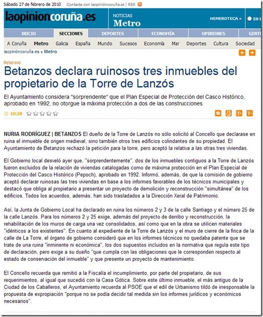 """Recorte da edición dixital do xornal  """"La Opinión"""" correspondente ao venres 26 de febreiro de 2010"""