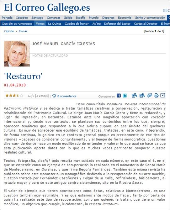 Artigo de opinión de José Manuel García Iglesias en El Correo Gallego