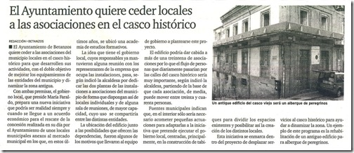 El Ayuntamiento quiere ceder locales a las asociaciones en el casco histórico