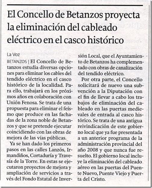 """Recorte do xornal """"La Voz de Galicia"""" correspondente ao martes 20 de outubro de 2009"""