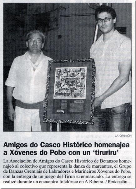 """Recorte do xornal """"La Opinión"""" correspondente ao 15 de outubro de 2009"""