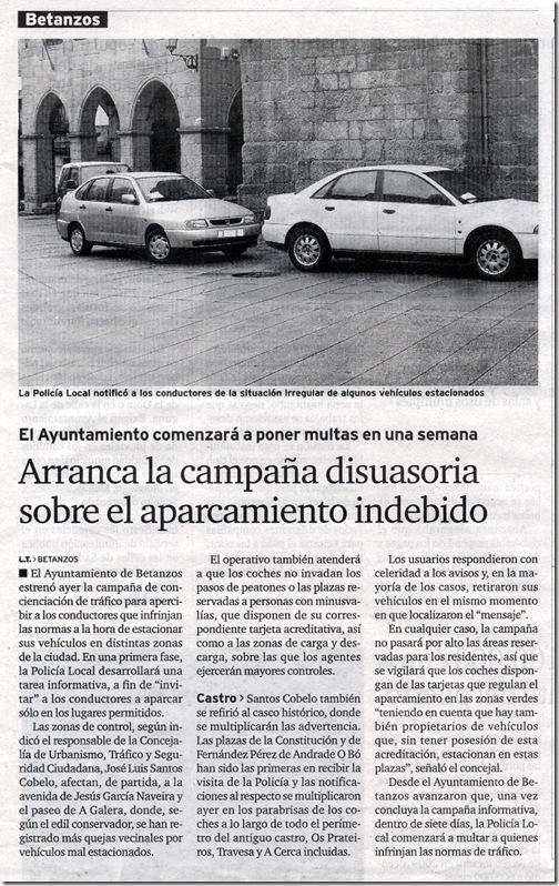 """Recorte do xornal """"El Ideal Gallego"""" do martes, 10 de novembro de 2009"""