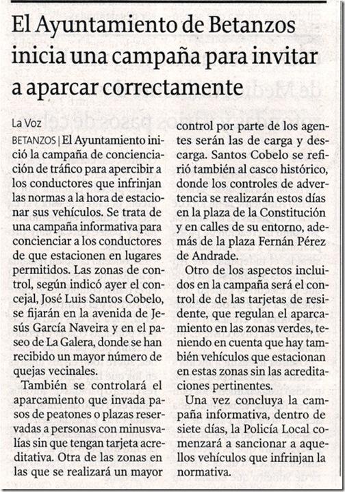 """Recorte de """"La Voz de Galicia"""" correspondente ao martes 10 de novembro de 2009"""
