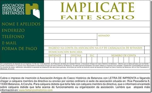 Folleto de inscrición de socio da Asociación Amigos do Casco Histórico de Betanzos