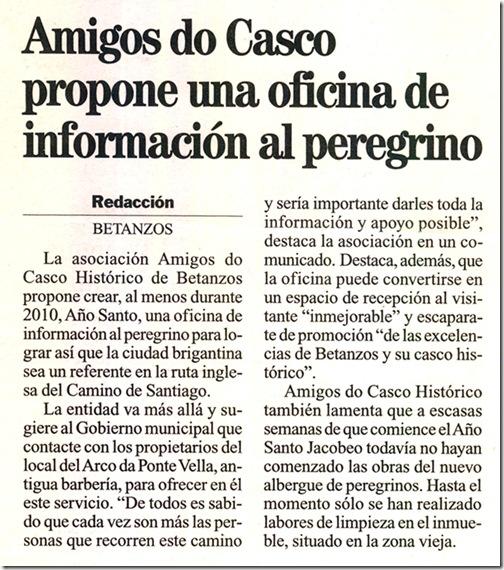 """Recorte do xornal """"La Opinión"""" correspondente ao domingo 22 de novembro de 2009"""