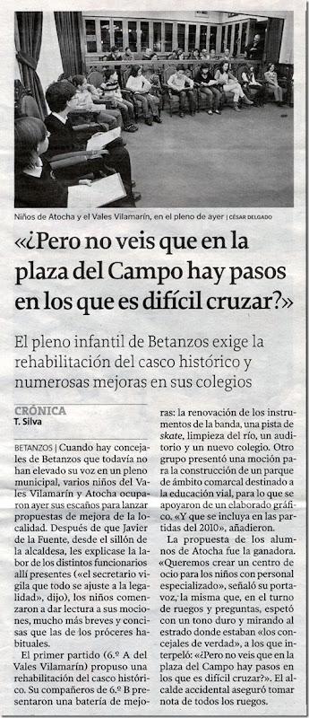 """Recorte do xornal """"La Voz de Galicia"""" correspondente ao sábado 21 de novembro de 2009"""