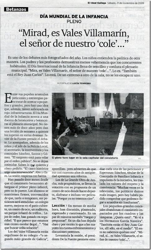 """Recorte do xornal """"El Ideal Gallego"""" correspondente ao sábado 21 de novembro de 2009"""