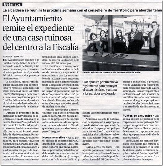 """Recorte do xornal """"El Ideal Gallego"""" correspondente ao sábado 12 de decembro de 2009"""