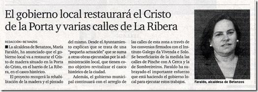 """Recorte do xornal """"El Ideal Gallego"""" correspondente ao domingo 13 de decembro de 2009"""