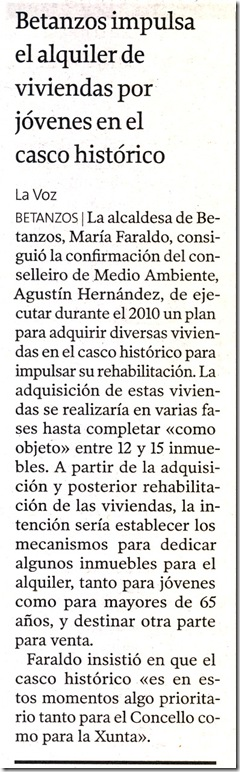 """Recorte do  xornal """"La Voz de Galicia"""" correspondente ao sábado 19 de decembro de 2009."""