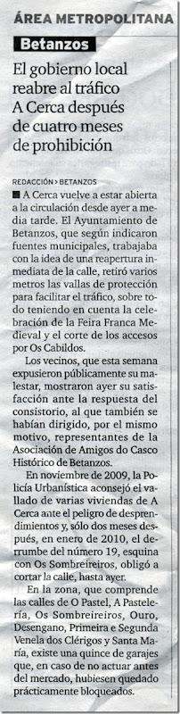 """Recorte do xornal """"El Ideal Gallego"""" correspondente ao vernes 18 de xuño de 2010"""