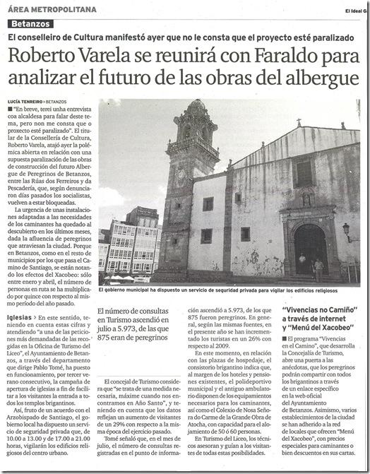 """Recorte do xornal """"El Ideal Gallego"""" correspondente ao venres 6 de agosto de 2010"""