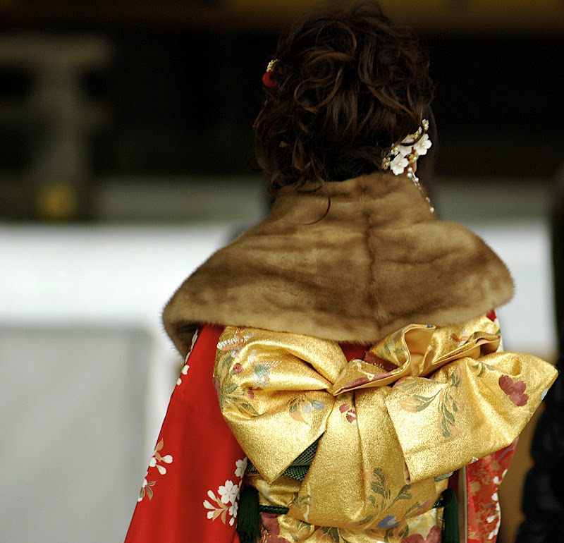 Coming of Age Day kimonos are much more vivid than the usual ones worn by obasans for other occasions.