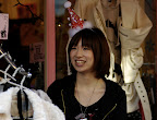 Japanese shop girl with Christmas spirit in Shimo-kitazawa