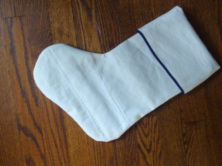 Recycled sail Christmas stocking