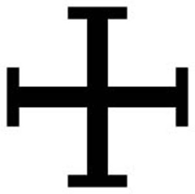 "Cross potent  -  This cross has a crossbar at the end of each of its arms. ""Potent"" is an old word for a crutch, and is used in heraldic terminology to describe a T shape."