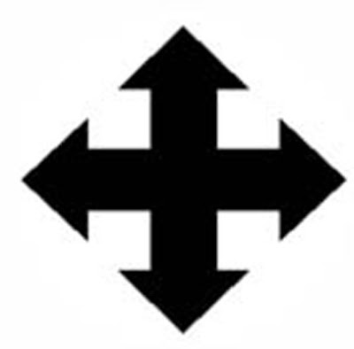 """Cross barbée -   Also known as the cross barby or arrow cross, this symbol consists of two double-ended arrows in a cross configuration. Best known today for its use by the fascist Arrow Cross Party in the 1930s, the symbol actually dates to ancient times and was used by Hungarian tribes in the Middle Ages. In Christian use, the ends of this cross resemble the barbs of fish hooks, or fish spears. This alludes to the Ichthys symbol of Christ, and is suggestive of the """"fishers of men"""" theme in the Gospel."""