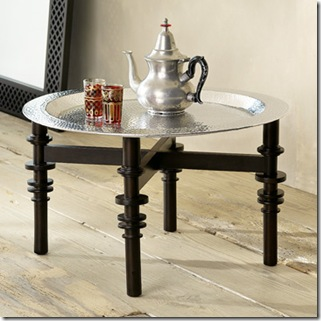 silver- west elm metal hammered tray and medina stand