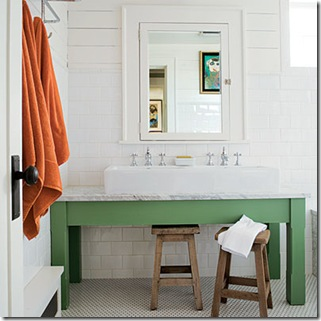 glimpses of style bathroom with green vanity